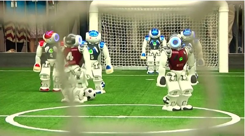 On the football field came the robots